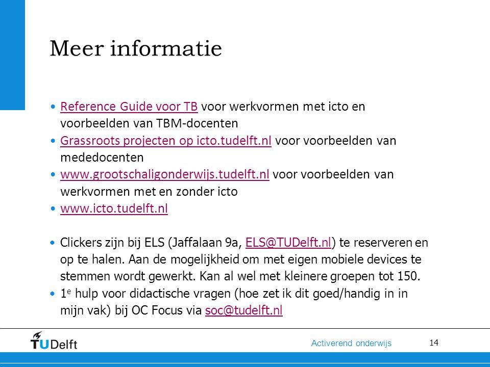 14 Activerend onderwijs Meer informatie Reference Guide voor TB voor werkvormen met icto en voorbeelden van TBM-docentenReference Guide voor TB Grassr