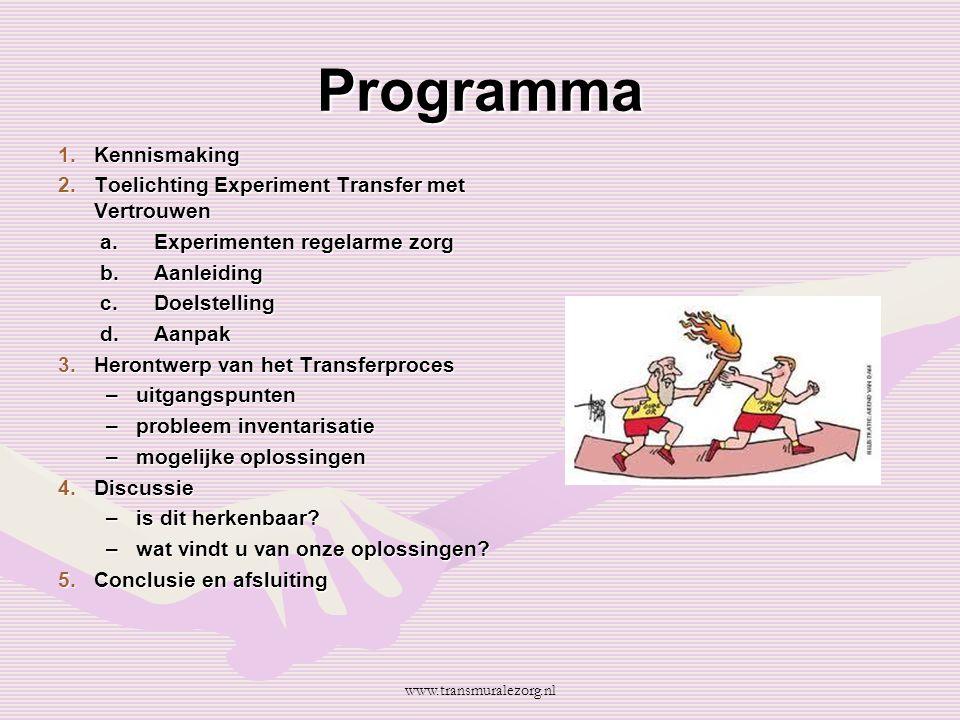 Programma 1.Kennismaking 2.Toelichting Experiment Transfer met Vertrouwen a.Experimenten regelarme zorg b.Aanleiding c.Doelstelling d.Aanpak 3.Herontw