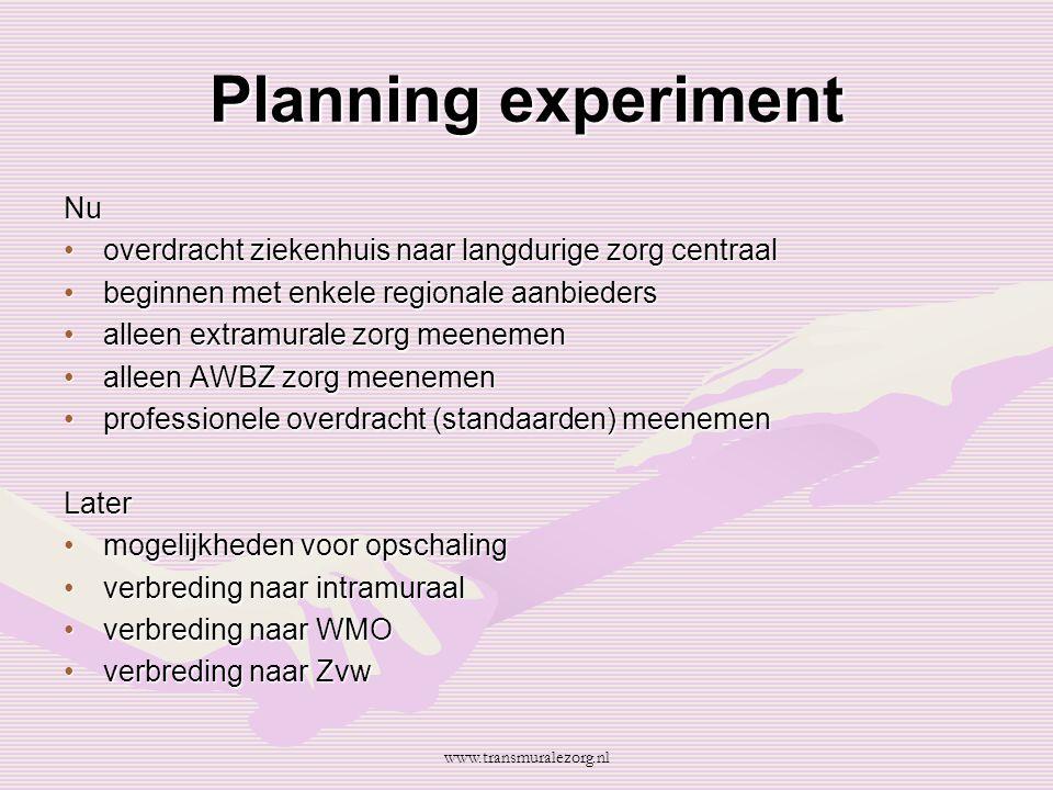Planning experiment Nu overdracht ziekenhuis naar langdurige zorg centraaloverdracht ziekenhuis naar langdurige zorg centraal beginnen met enkele regi