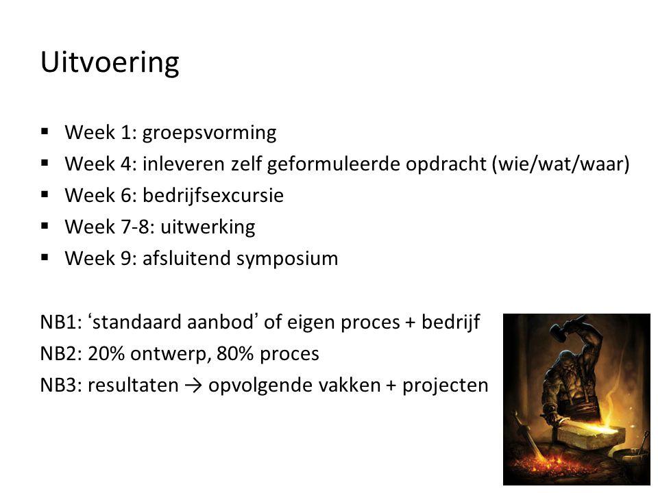 Uitvoering  Week 1: groepsvorming  Week 4: inleveren zelf geformuleerde opdracht (wie/wat/waar)  Week 6: bedrijfsexcursie  Week 7-8: uitwerking 