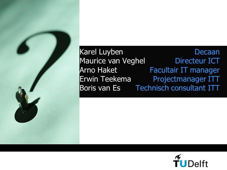 Karel Luyben Decaan Maurice van Veghel Directeur ICT Arno Haket Facultair IT manager Erwin Teekema Projectmanager ITT Boris van Es Technisch consultant ITT