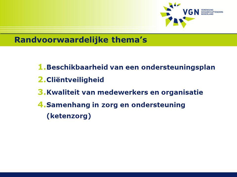 Randvoorwaardelijke thema's 1.Beschikbaarheid van een ondersteuningsplan 2.