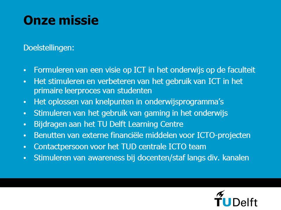 Onze visie ICT in het onderwijs stimuleren middels betere uitnutting van reeds aanwezige tools, ervaringen, onderwijskundige kennis & technische ondersteuning & het scheppen van randvoorwaarden voor het gebruik van ICT in het onderwijs Afstemming tussen leerdoelen, middelen (incl.