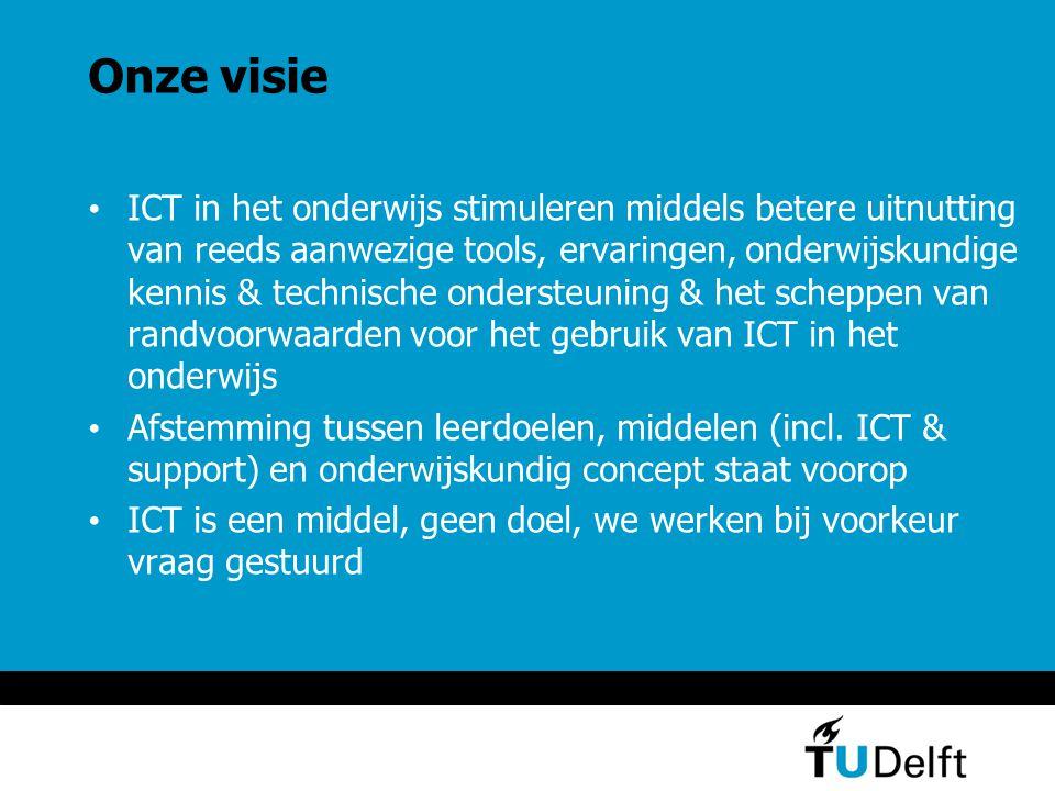 Onze doelgroepen (1/2) De onderwijsdirecteur en het OMT: meedenken aan de bijdrage die ICT kan leveren ter verbetering van het onderwijs of bij het bedenken van nieuwe onderwijsconcepten De opleidingsdirecteuren: meewerken aan het gebruik van ICT om knelpunten in het onderwijs op te lossen