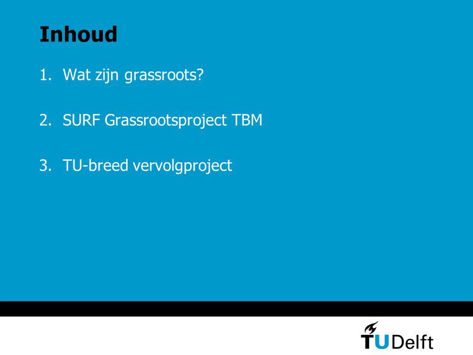 Inhoud 1.Wat zijn grassroots 2.SURF Grassrootsproject TBM 3.TU-breed vervolgproject