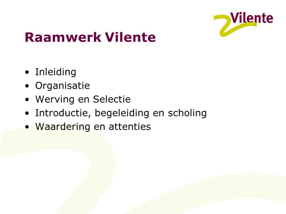 Raamwerk Vilente Inleiding Organisatie Werving en Selectie Introductie, begeleiding en scholing Waardering en attenties