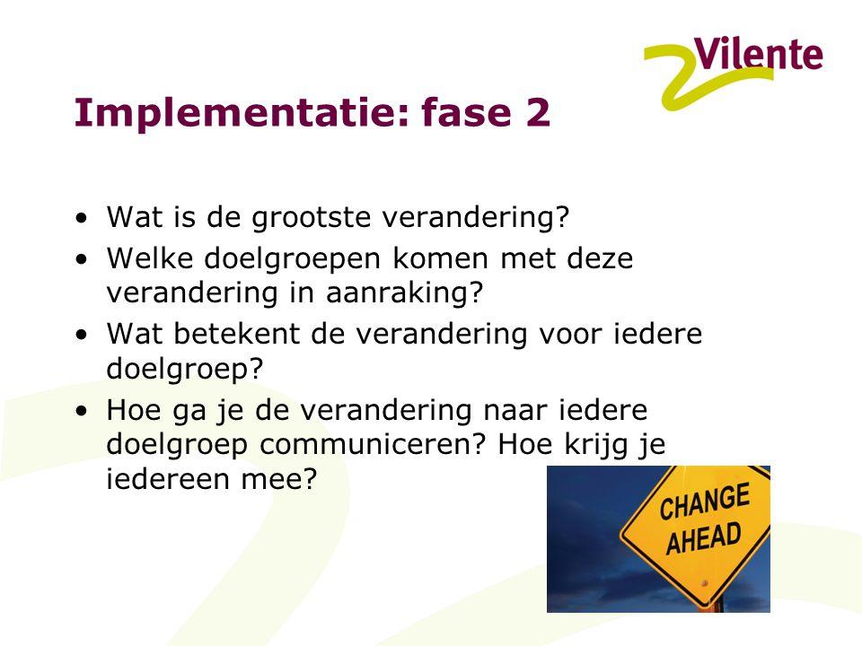 Implementatie: fase 2 Wat is de grootste verandering.