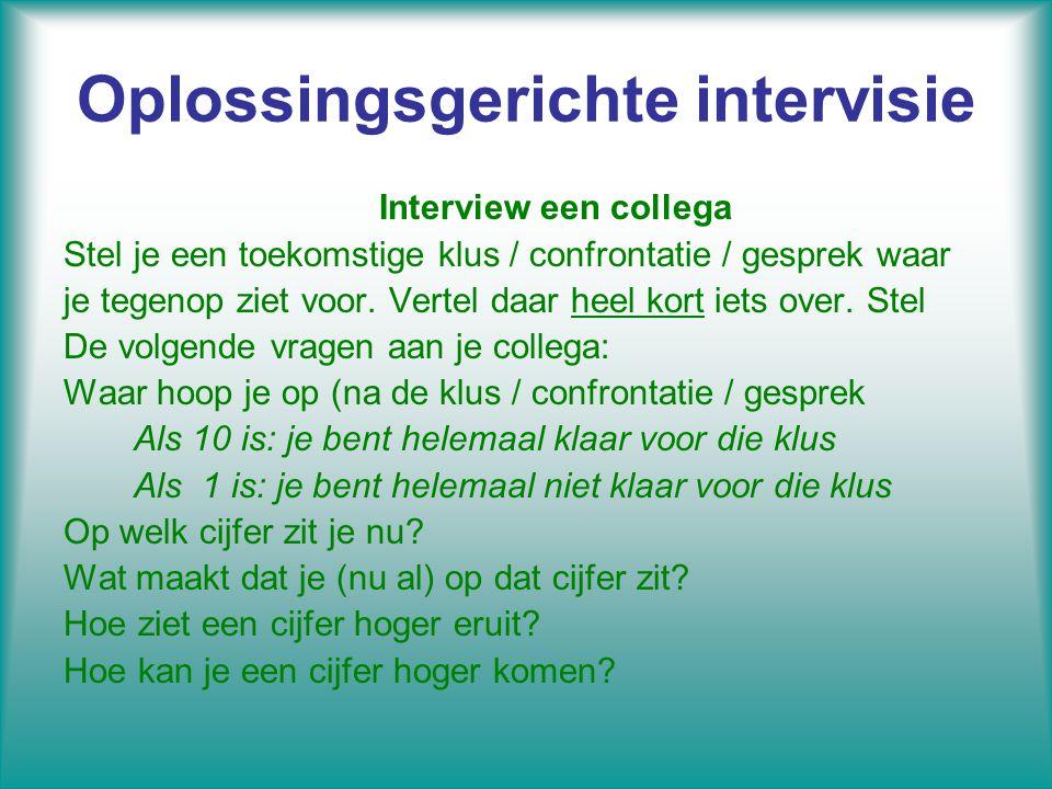 Oplossingsgerichte intervisie Interview een collega Stel je een toekomstige klus / confrontatie / gesprek waar je tegenop ziet voor. Vertel daar heel