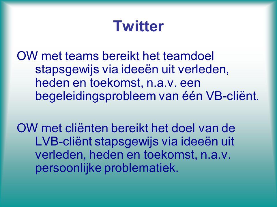 Twitter OW met teams bereikt het teamdoel stapsgewijs via ideeën uit verleden, heden en toekomst, n.a.v. een begeleidingsprobleem van één VB-cliënt. O