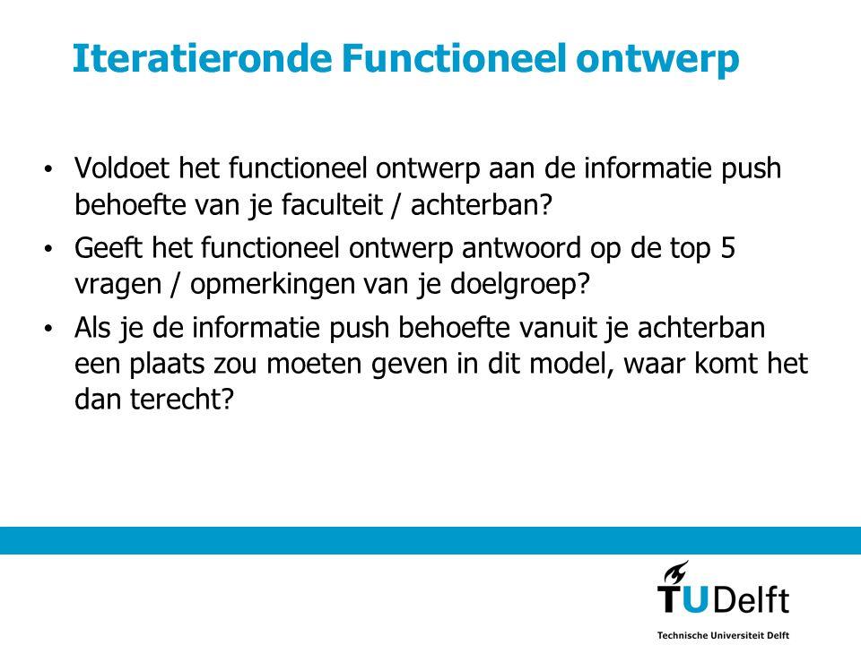 Iteratieronde Functioneel ontwerp Voldoet het functioneel ontwerp aan de informatie push behoefte van je faculteit / achterban.