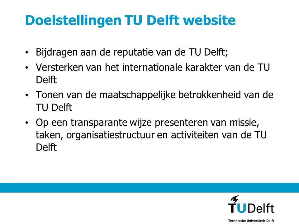 Doelstellingen TU Delft website Bijdragen aan de reputatie van de TU Delft; Versterken van het internationale karakter van de TU Delft Tonen van de maatschappelijke betrokkenheid van de TU Delft Op een transparante wijze presenteren van missie, taken, organisatiestructuur en activiteiten van de TU Delft