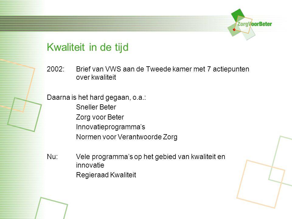 Kwaliteit in de tijd 2002: Brief van VWS aan de Tweede kamer met 7 actiepunten over kwaliteit Daarna is het hard gegaan, o.a.: Sneller Beter Zorg voor