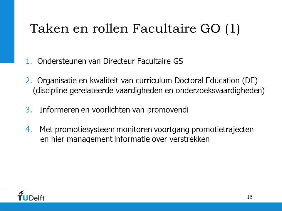 16 Taken en rollen Facultaire GO (1) 1.Ondersteunen van Directeur Facultaire GS 2.Organisatie en kwaliteit van curriculum Doctoral Education (DE) (dis