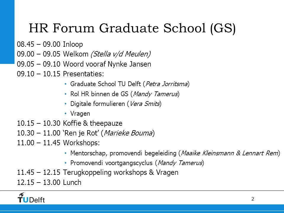 2 HR Forum Graduate School (GS) 08.45 – 09.00 Inloop 09.00 – 09.05 Welkom (Stella v/d Meulen) 09.05 – 09.10 Woord vooraf Nynke Jansen 09.10 – 10.15 Pr