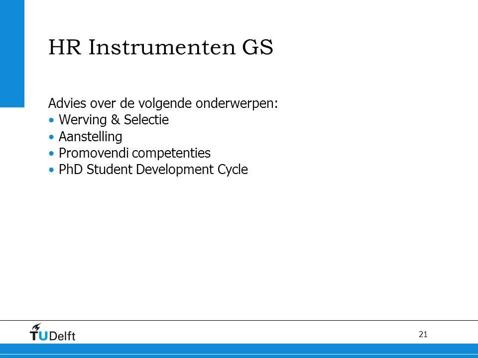 21 HR Instrumenten GS Advies over de volgende onderwerpen: Werving & Selectie Aanstelling Promovendi competenties PhD Student Development Cycle