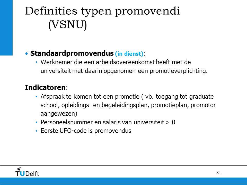 31 Definities typen promovendi (VSNU) Standaardpromovendus (in dienst) : Werknemer die een arbeidsovereenkomst heeft met de universiteit met daarin op
