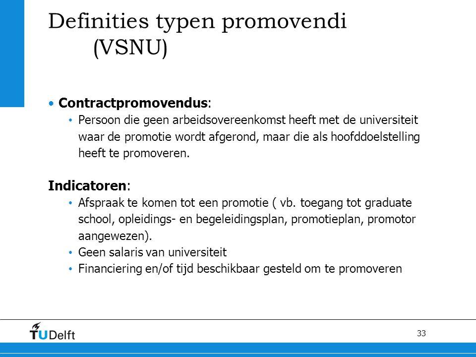 33 Definities typen promovendi (VSNU) Contractpromovendus: Persoon die geen arbeidsovereenkomst heeft met de universiteit waar de promotie wordt afger