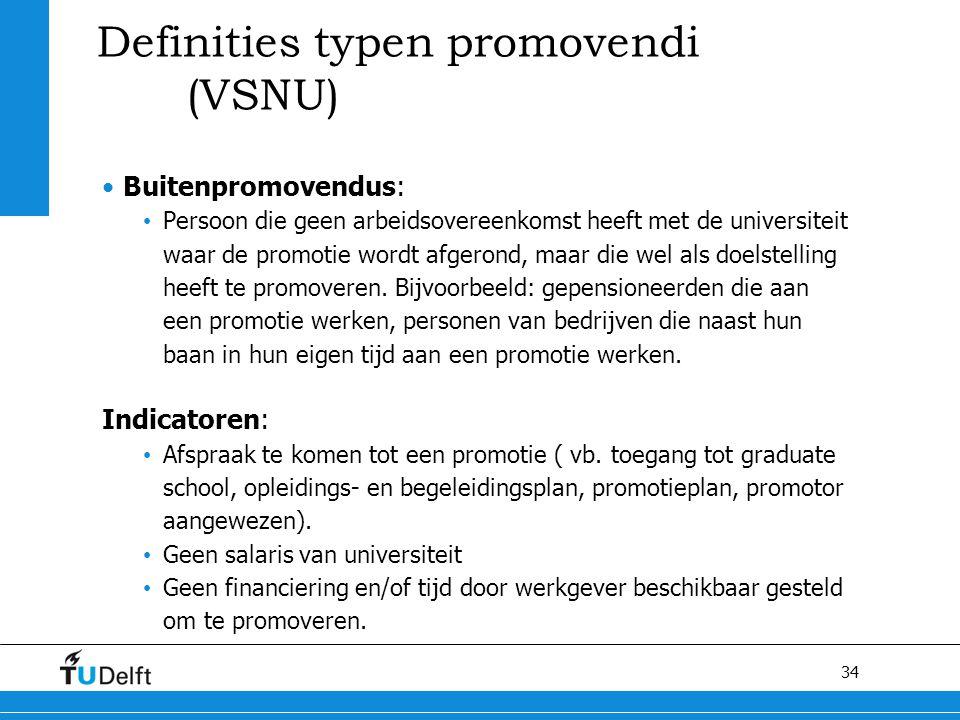 34 Definities typen promovendi (VSNU) Buitenpromovendus: Persoon die geen arbeidsovereenkomst heeft met de universiteit waar de promotie wordt afgeron