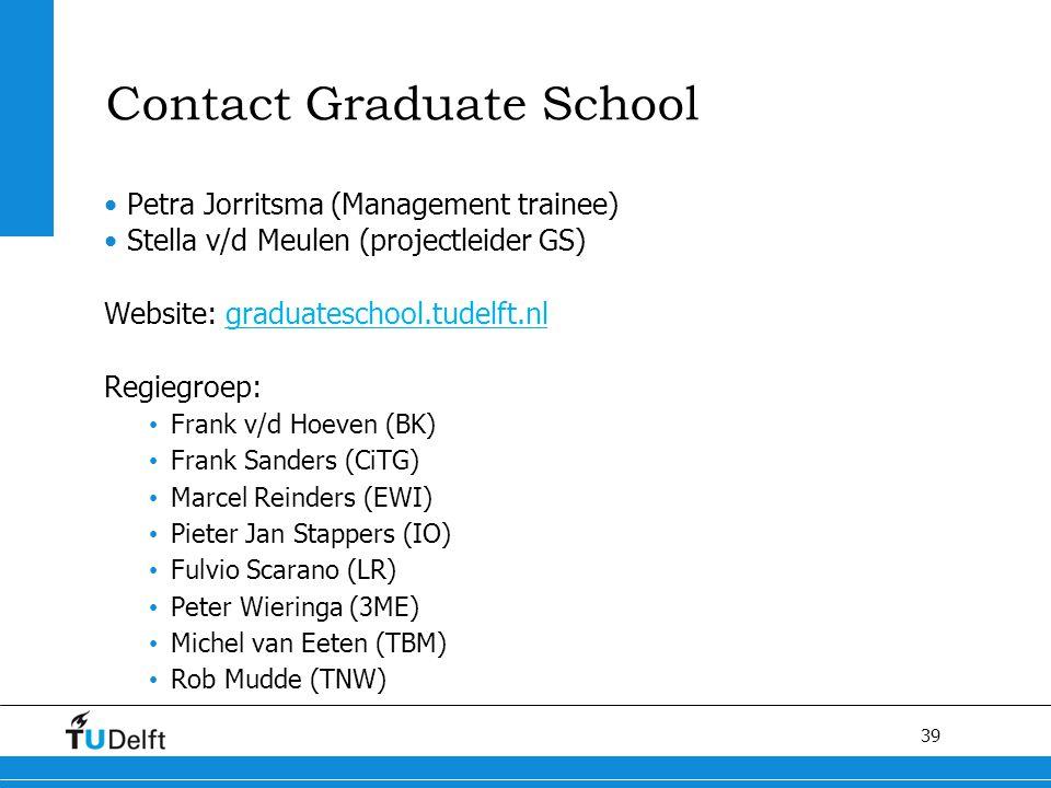 39 Contact Graduate School Petra Jorritsma (Management trainee) Stella v/d Meulen (projectleider GS) Website: graduateschool.tudelft.nl Regiegroep: Fr