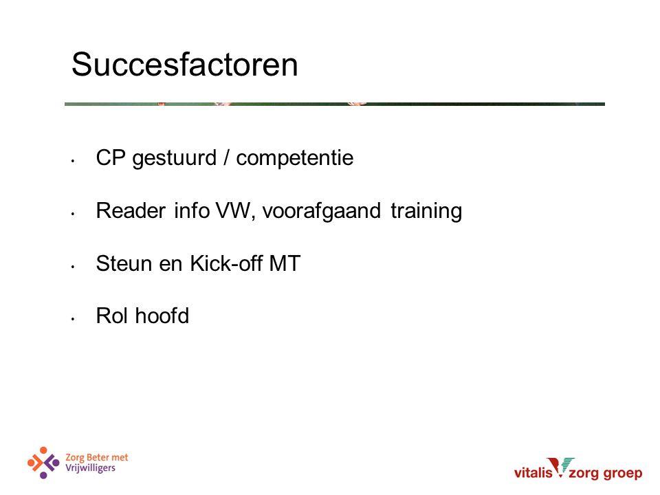 CP gestuurd / competentie Reader info VW, voorafgaand training Steun en Kick-off MT Rol hoofd Succesfactoren