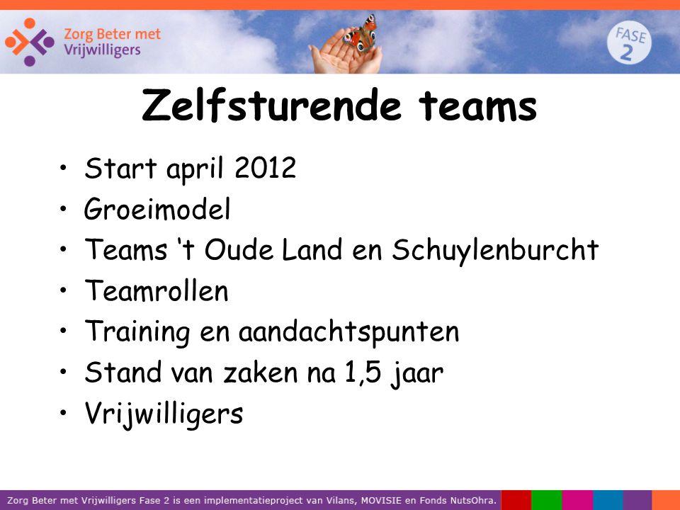 Zelfsturende teams Start april 2012 Groeimodel Teams 't Oude Land en Schuylenburcht Teamrollen Training en aandachtspunten Stand van zaken na 1,5 jaar Vrijwilligers