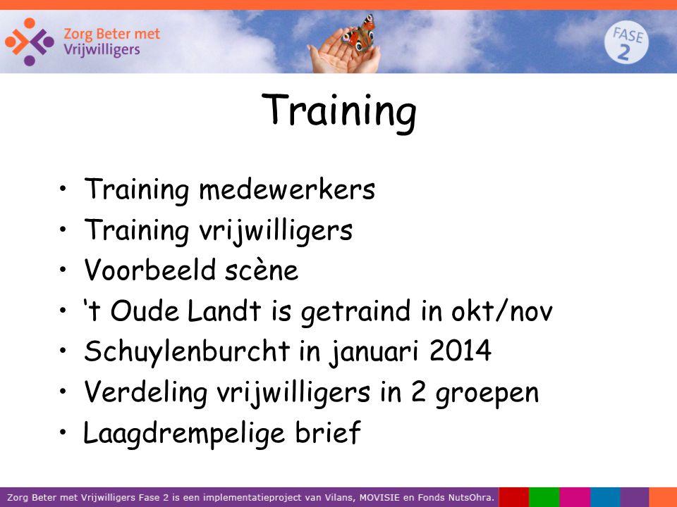 Training Training medewerkers Training vrijwilligers Voorbeeld scène 't Oude Landt is getraind in okt/nov Schuylenburcht in januari 2014 Verdeling vri