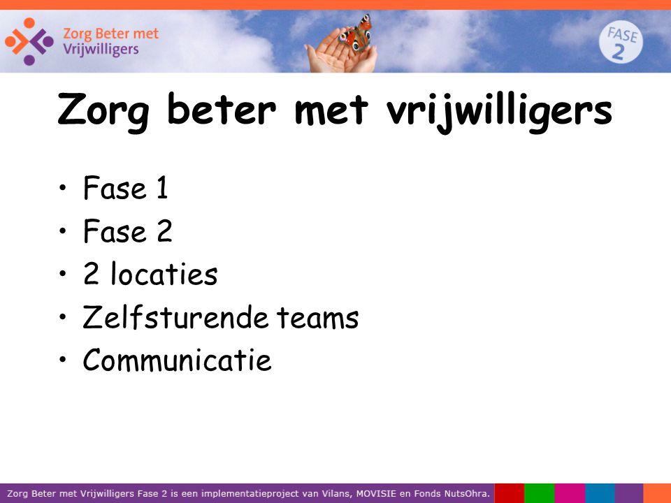 Zorg beter met vrijwilligers Fase 1 Fase 2 2 locaties Zelfsturende teams Communicatie