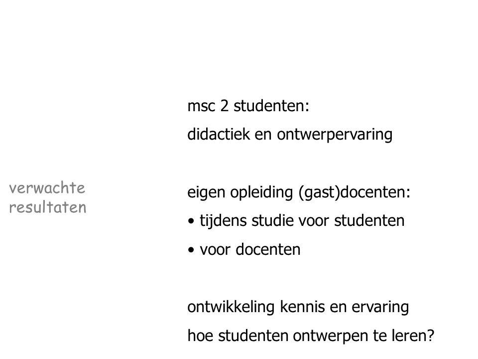 msc 2 studenten: didactiek en ontwerpervaring eigen opleiding (gast)docenten: tijdens studie voor studenten voor docenten ontwikkeling kennis en ervaring hoe studenten ontwerpen te leren.