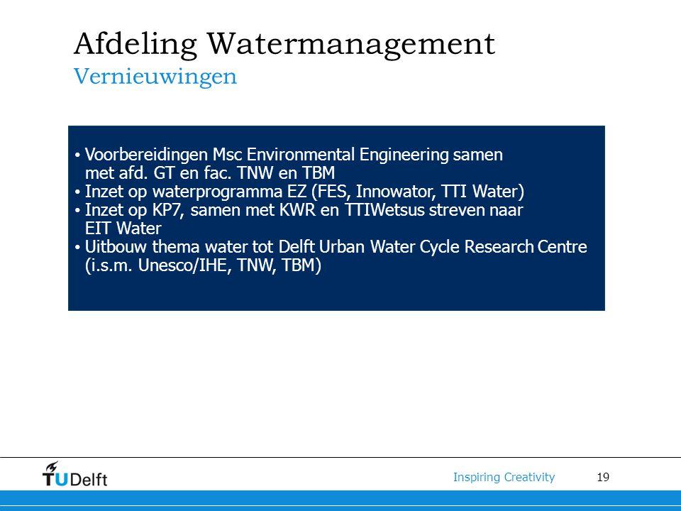 19 Inspiring Creativity Afdeling Watermanagement Vernieuwingen Voorbereidingen Msc Environmental Engineering samen met afd.
