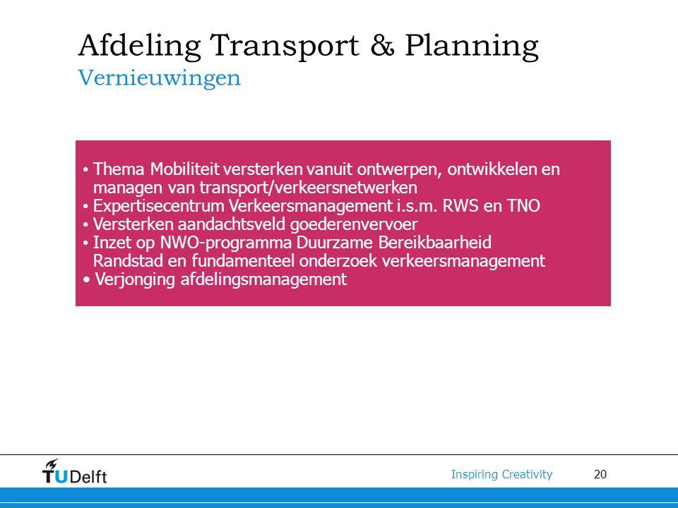 20 Inspiring Creativity Afdeling Transport & Planning Vernieuwingen Thema Mobiliteit versterken vanuit ontwerpen, ontwikkelen en managen van transport/verkeersnetwerken Expertisecentrum Verkeersmanagement i.s.m.