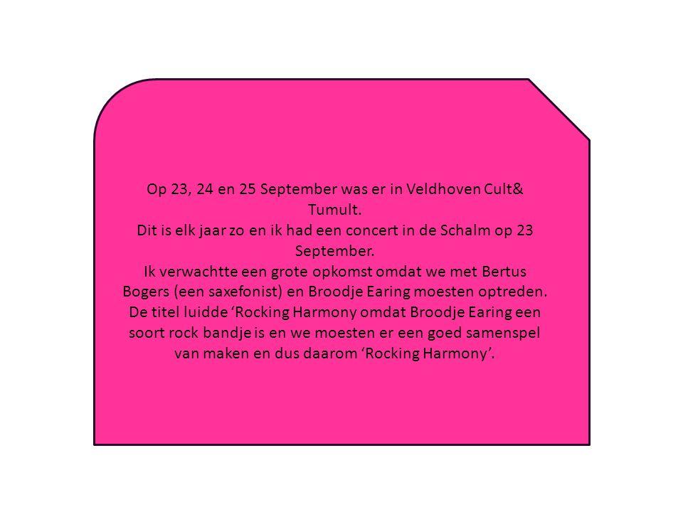 Op 23, 24 en 25 September was er in Veldhoven Cult& Tumult.