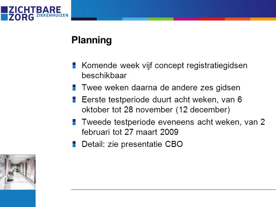 Planning Komende week vijf concept registratiegidsen beschikbaar Twee weken daarna de andere zes gidsen Eerste testperiode duurt acht weken, van 6 okt