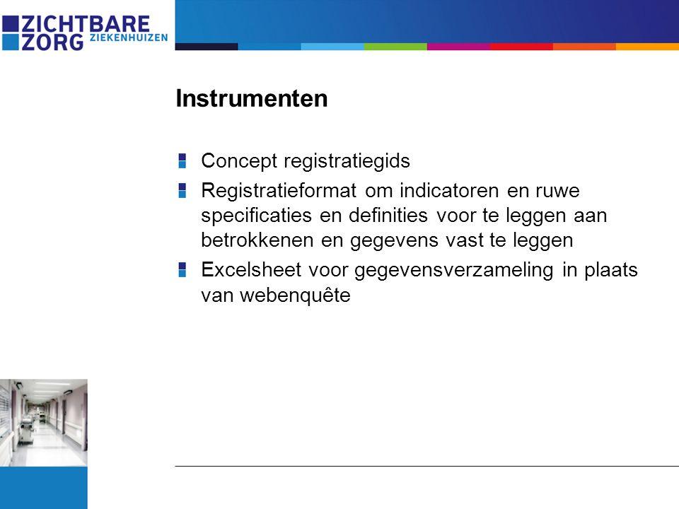 Instrumenten Concept registratiegids Registratieformat om indicatoren en ruwe specificaties en definities voor te leggen aan betrokkenen en gegevens v