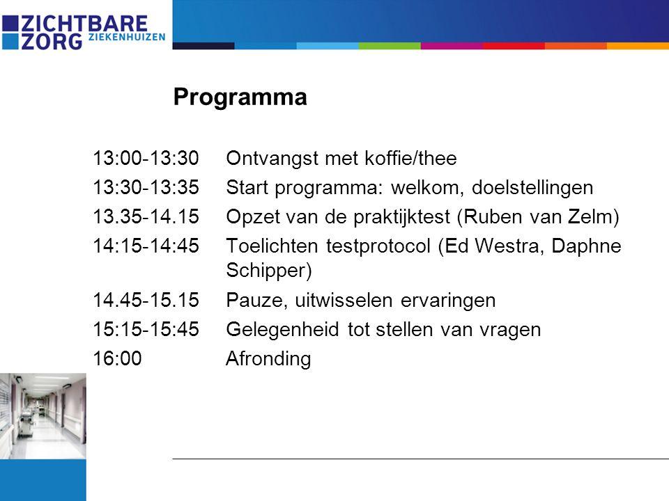 Programma 13:00-13:30Ontvangst met koffie/thee 13:30-13:35Start programma: welkom, doelstellingen 13.35-14.15Opzet van de praktijktest (Ruben van Zelm