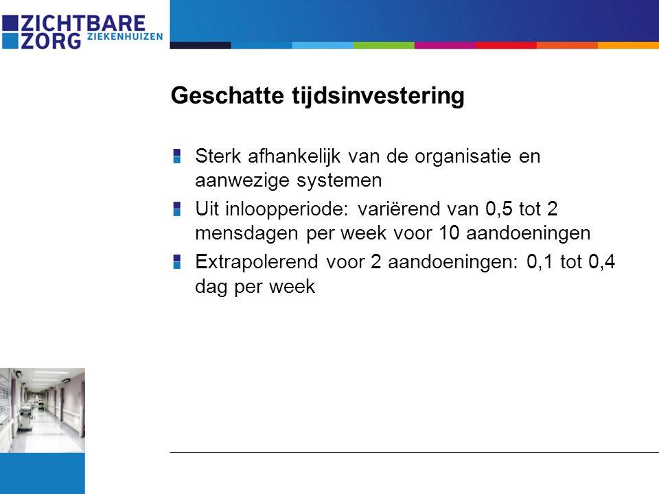 Geschatte tijdsinvestering Sterk afhankelijk van de organisatie en aanwezige systemen Uit inloopperiode: variërend van 0,5 tot 2 mensdagen per week vo