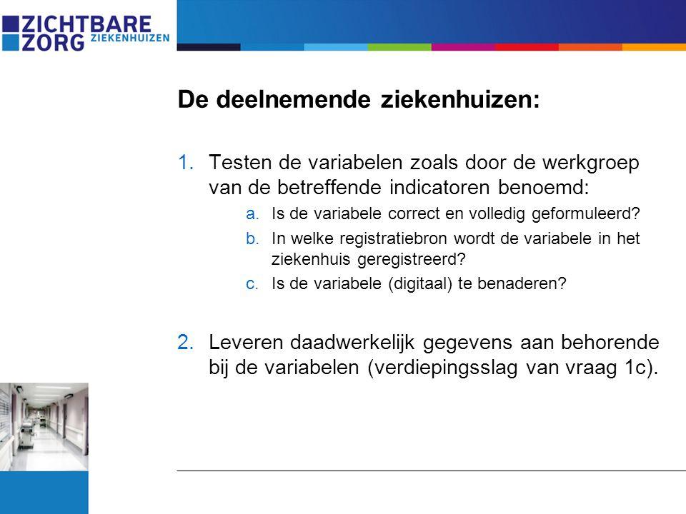De deelnemende ziekenhuizen: 1.Testen de variabelen zoals door de werkgroep van de betreffende indicatoren benoemd: a.Is de variabele correct en volle
