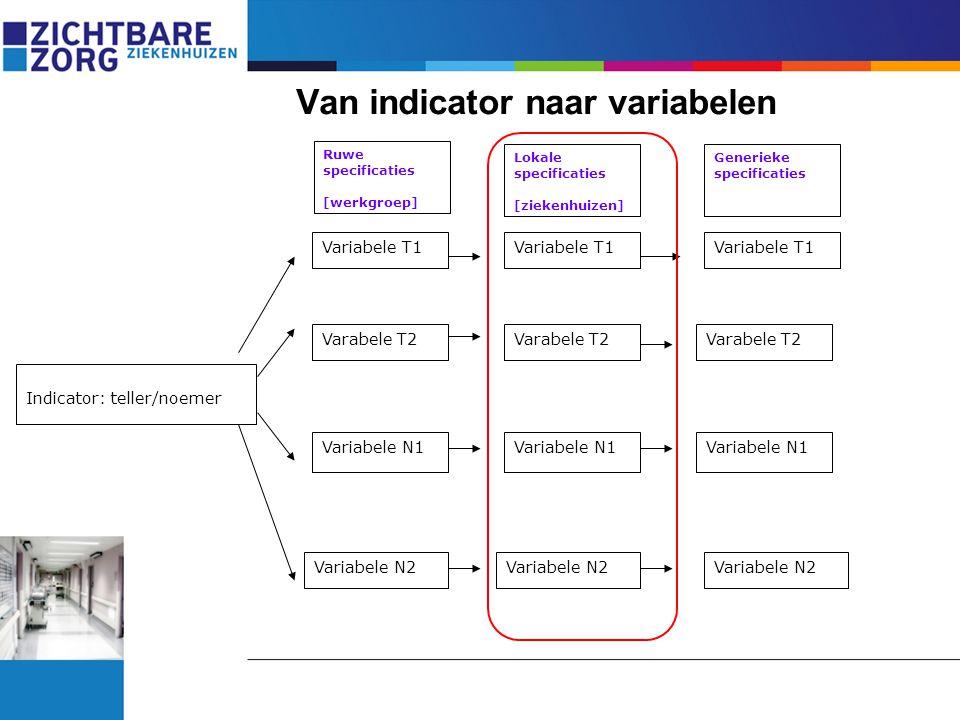 Van indicator naar variabelen Indicator: teller/noemer Variabele T1 Varabele T2 Variabele N2 Variabele N1 Ruwe specificaties [werkgroep] Lokale specif