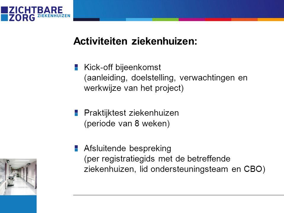 Activiteiten ziekenhuizen: Kick-off bijeenkomst (aanleiding, doelstelling, verwachtingen en werkwijze van het project) Praktijktest ziekenhuizen (peri