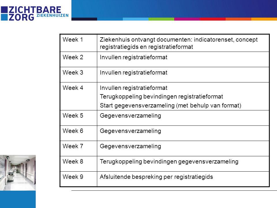 Week 1Ziekenhuis ontvangt documenten: indicatorenset, concept registratiegids en registratieformat Week 2Invullen registratieformat Week 3Invullen reg