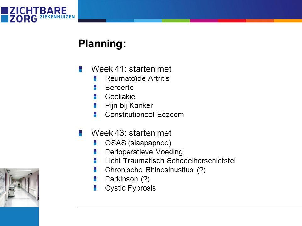 Planning: Week 41: starten met Reumatoïde Artritis Beroerte Coeliakie Pijn bij Kanker Constitutioneel Eczeem Week 43: starten met OSAS (slaapapnoe) Pe