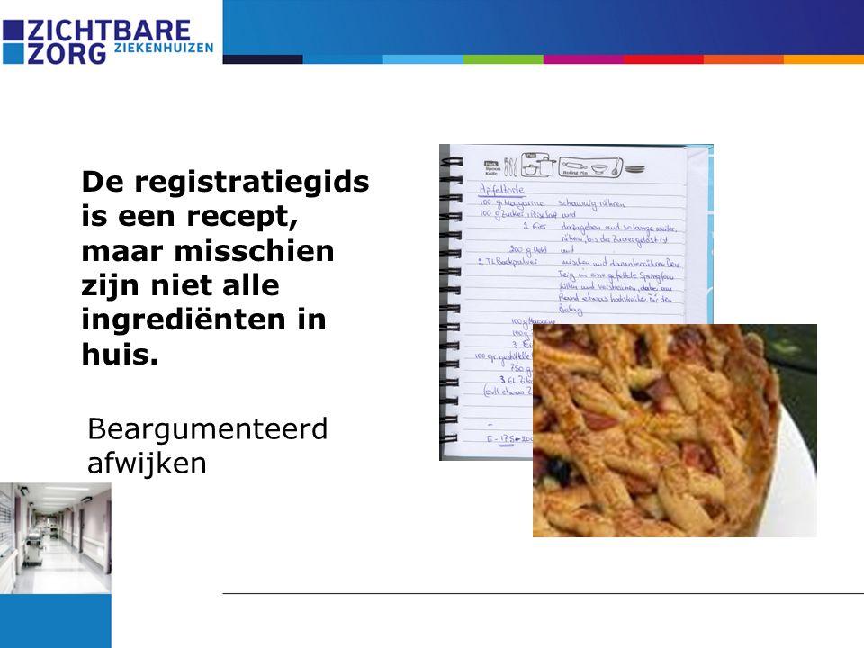 De registratiegids is een recept, maar misschien zijn niet alle ingrediënten in huis. Beargumenteerd afwijken