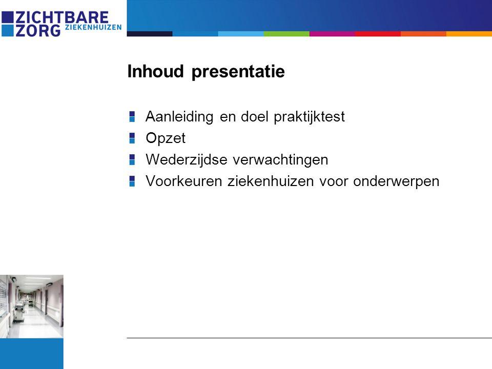 Inhoud presentatie Aanleiding en doel praktijktest Opzet Wederzijdse verwachtingen Voorkeuren ziekenhuizen voor onderwerpen