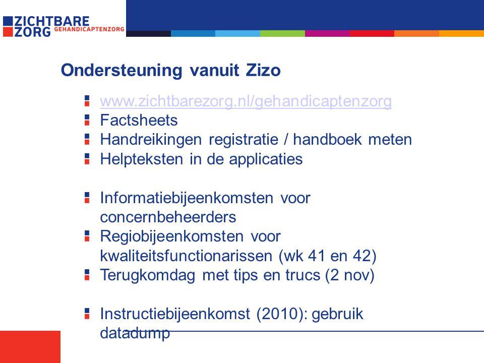Ondersteuning vanuit Zizo www.zichtbarezorg.nl/gehandicaptenzorg Factsheets Handreikingen registratie / handboek meten Helpteksten in de applicaties Informatiebijeenkomsten voor concernbeheerders Regiobijeenkomsten voor kwaliteitsfunctionarissen (wk 41 en 42) Terugkomdag met tips en trucs (2 nov) Instructiebijeenkomst (2010): gebruik datadump