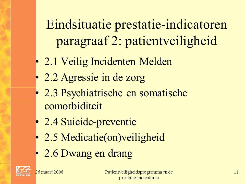 26 maart 2008Patientveiligheidsprogramma en de prestatie-indicatoren 11 Eindsituatie prestatie-indicatoren paragraaf 2: patientveiligheid 2.1 Veilig I