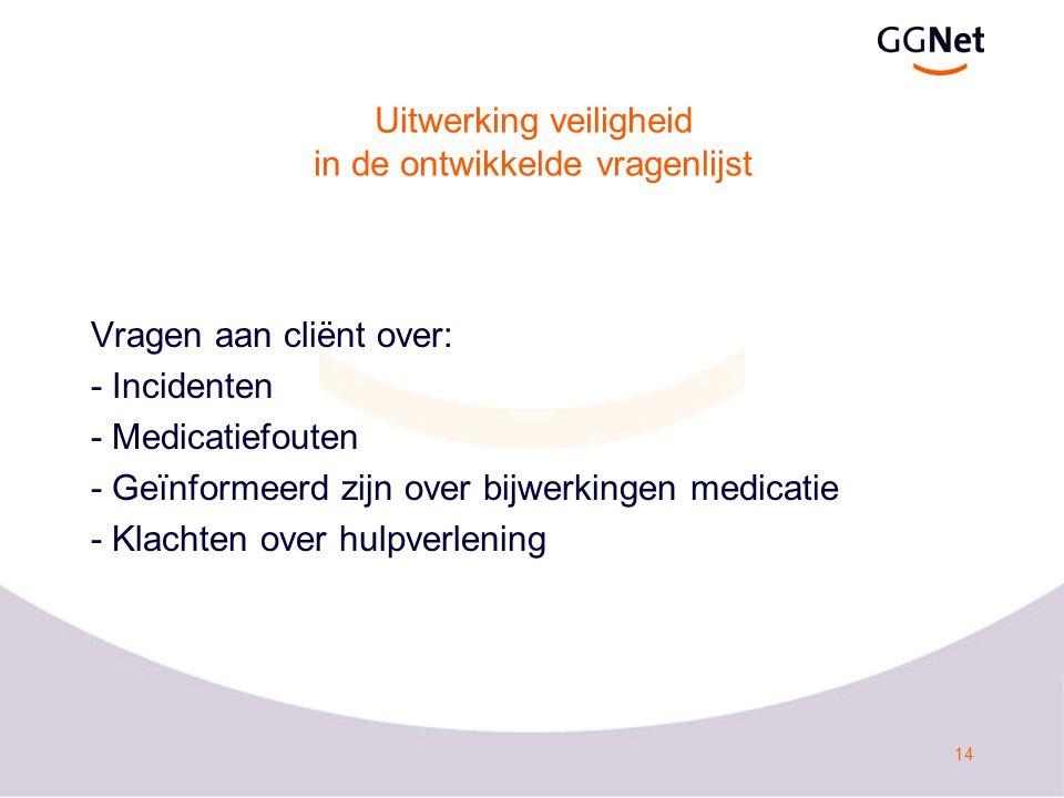 14 Uitwerking veiligheid in de ontwikkelde vragenlijst Vragen aan cliënt over: - Incidenten - Medicatiefouten - Geïnformeerd zijn over bijwerkingen me
