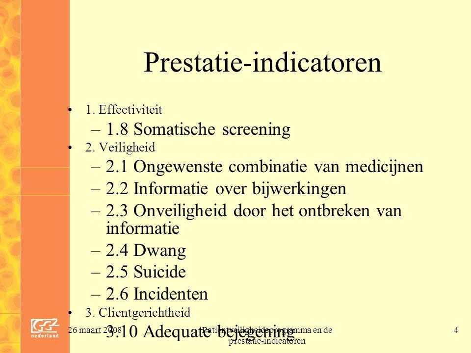 26 maart 2008Patientveiligheidsprogramma en de prestatie-indicatoren 4 Prestatie-indicatoren 1. Effectiviteit –1.8 Somatische screening 2. Veiligheid