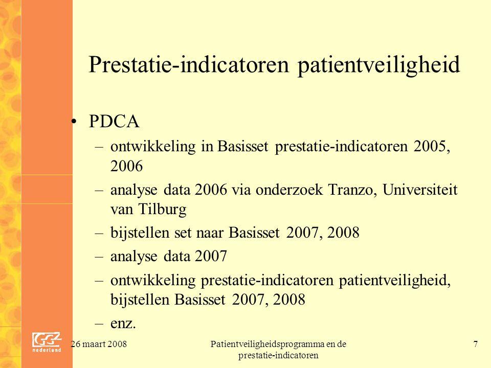26 maart 2008Patientveiligheidsprogramma en de prestatie-indicatoren 8 Voorbeeld: prestatie-indicator patientveiligheid 6: medicatie(on)veiligheid 2.1 Medicatieveiligheid ongewenste combinatie van medicijnen in de klinische zorg –status: facultatief verslagjaren 2007 en 2008; verplicht vanaf verslagjaar 2009 –2.1.a Medicatiebewaking: teller: aantal keren dat apotheek risicovolle combinaties van medicijnen heeft aangeleverd noemer: aantal medicatieafleveringen aan de zorgaanbieder –2.1.b.