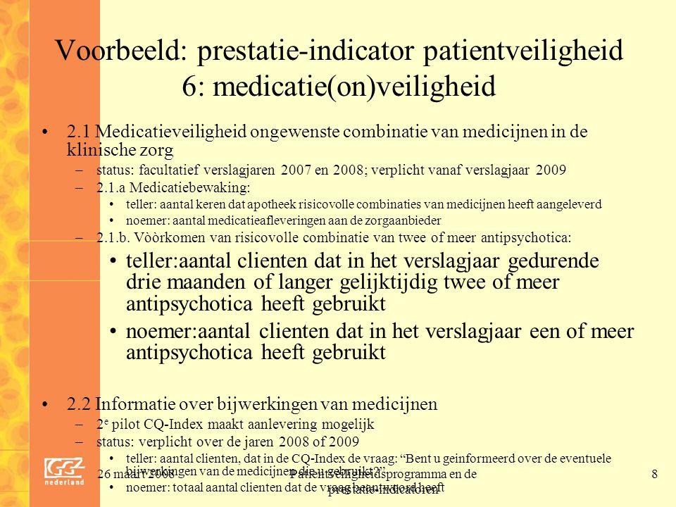 26 maart 2008Patientveiligheidsprogramma en de prestatie-indicatoren 9 Uitwerking speerpunt 6.