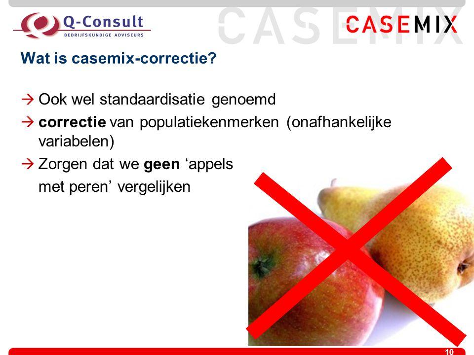 10 Wat is casemix-correctie?  Ook wel standaardisatie genoemd  correctie van populatiekenmerken (onafhankelijke variabelen)  Zorgen dat we geen 'ap