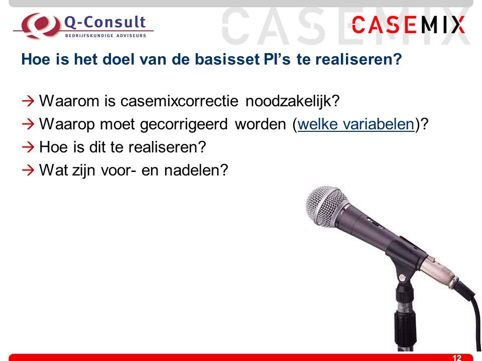 12 Hoe is het doel van de basisset PI's te realiseren?  Waarom is casemixcorrectie noodzakelijk?  Waarop moet gecorrigeerd worden (welke variabelen)